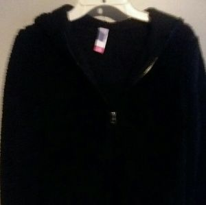 Black fuzzy warm coat